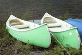 Green canoes — Stock Photo