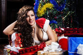 Beautiful xmas brunette. Snow maiden. — Stock Photo