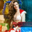 Beautiful xmass brunette — Stock Photo
