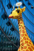 Giraffe made of toy building brick — Stock Photo