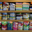 Linen cloth store shelves — ストック写真