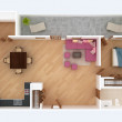 3D floor plan section. Apartment house interior overhead top view. — Stock Photo