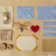 Scrapbook elements collection. Card w decoration, elvelope, blue paper scraps, love heart, old photo w corners, tree bark and buttons. — Stock Photo