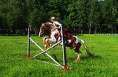 Girl-jockey on a horse jumps over a barrier — Stock Photo