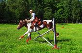 Girl-jockey on a horse jumps over a barrier — Stock Photo