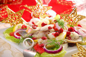 Herring salad with apple and cranberry — Stock Photo