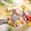 Herring salad with apple and potato — Stock Photo