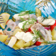 Herring salad with apple , potato and sour cream — Stock Photo #12914345