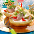 Potato with herrings and sour cream - Stock Photo