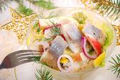Herring salad with apple and potato — Stock Photo