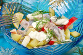 Herring salad with apple , potato and sour cream — Stock fotografie