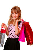 Beautiful girl with gift bags — Stock Photo