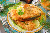 Fried carp steaks for christmas — Stock Photo