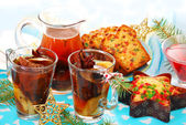 Dried fruit compote and cakes for christmas — Stock Photo