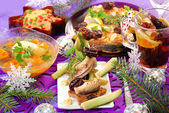 Herring appetizer on christmas eve`s table — Stock Photo