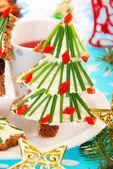 Christmas breakfast for child — Stock Photo