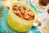 Bowl of sauerkraut (bigos) with sausage for christmas — Stock Photo