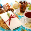 Christmas eve table with wafer and traditional dishes — Stock Photo #13454800