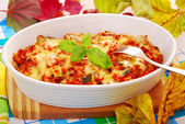 Autumn casserole with minced meat and zucchini — Stock Photo