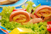 Snails made from sausage and cheese for child — Stock Photo