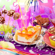 Decoration of birthday party table with sweets for child — Photo #13782907