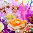 Decoration of birthday party table with sweets for child — Stok Fotoğraf #13782919