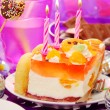 Stock Photo: Decoration of birthday party table with cake for child