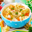 Christmas chicken soup for child — Stock Photo #13862115