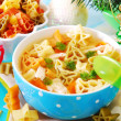 Christmas chicken soup for child — Stock Photo #13862116