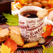 Stock Photo: Autumn coffee and cookies