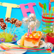 Stock Photo: Decoration of birthday party table with sweets for child