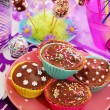 Homemade sweets on birthday party table for child — Stock Photo