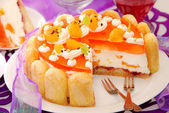 Orange jelly and whipped cream torte — Stock Photo