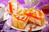 Orange jelly and whipped cream torte — Stock Photo