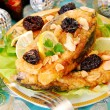 Breaded carp with almonds and prune for christmas — Stock Photo #15482971