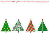 Festive card design with christmas trees in a row — Stock Photo