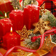 Christmas decoration with candles — Stok fotoğraf