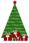 Festive card design with christmas tree and gifts — Stock Photo