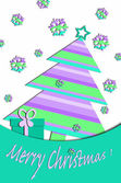 Pastel colors card design with christmas tree — Stock Photo