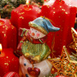 Christmas decoration with snowman and candles — Foto de Stock