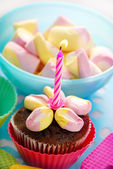 Birthday muffin cake with one candle — Stock Photo