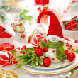 Christmas table set with funny snowman — Stock Photo