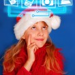 Young girl choosing virtual gift for christmas — Stock Photo