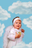 Little angel among the clouds — Stock Photo