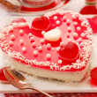 Jelly cake in heart shape for valentines — Stock Photo