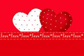 Valentine`s card with two hearts in dots — Stock Photo