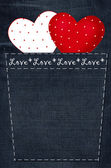 Valentine`s card with hearts on denim background — Stock Photo