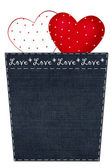 Valentine`s card with hearts in denim pocket — Stock Photo