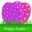 Easter card with purple tones eggs — Stock Photo