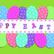 Easter border with colorful eggs — Stock Photo